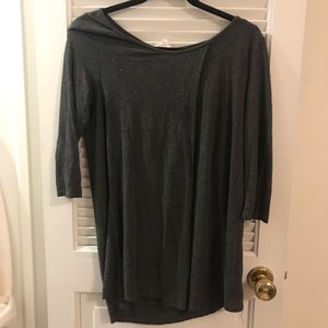 Grey Quarter-length sleeve blouse